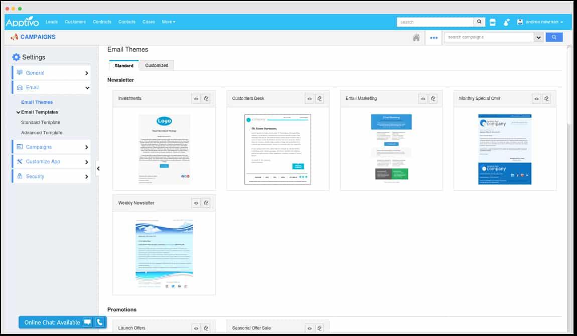 Screenshot of Apptivo Email themes