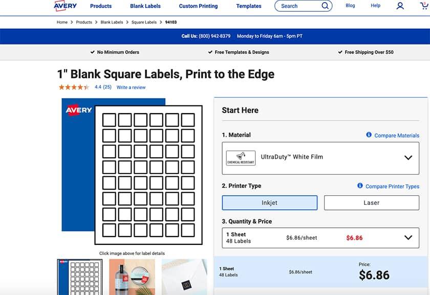 Screenshot of Avery label sheets sample
