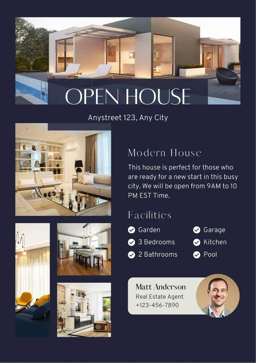Canva Open house Invitation template example