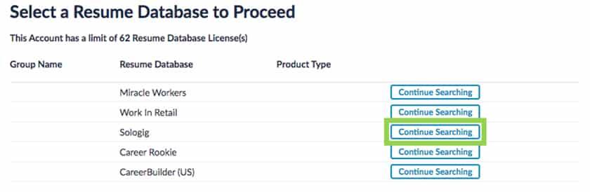 Screenshot of CareerBuilder Select Resume Database