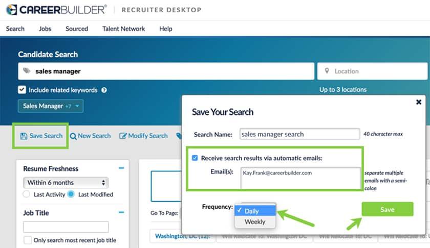 Screenshot of CareerBuilder receive resume alerts