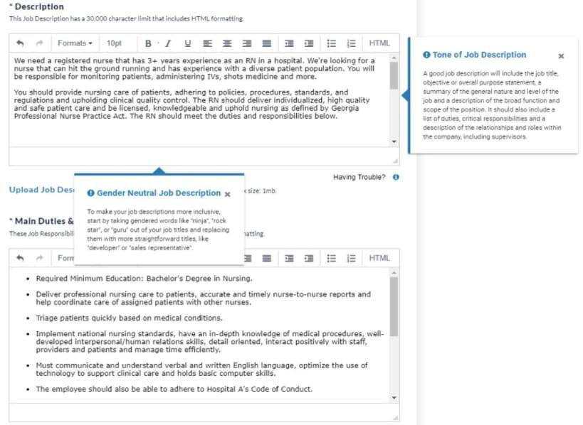 Screenshot of CareerBuilder sample job description