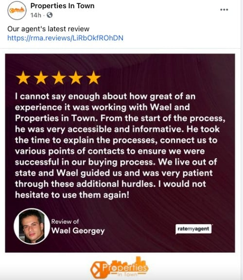 Client Testimonials from Properties in Town