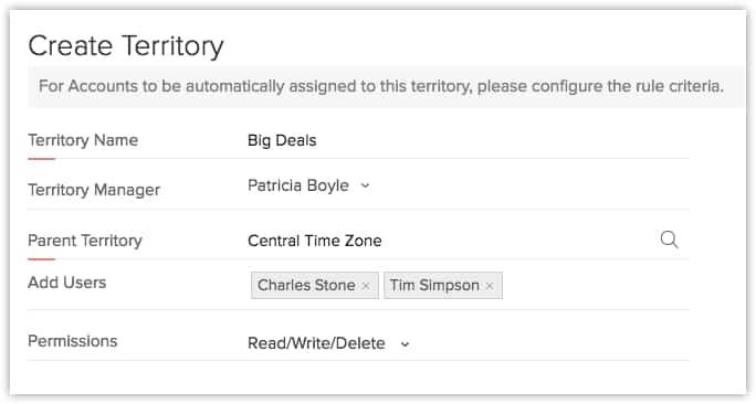 Create Territory Settings
