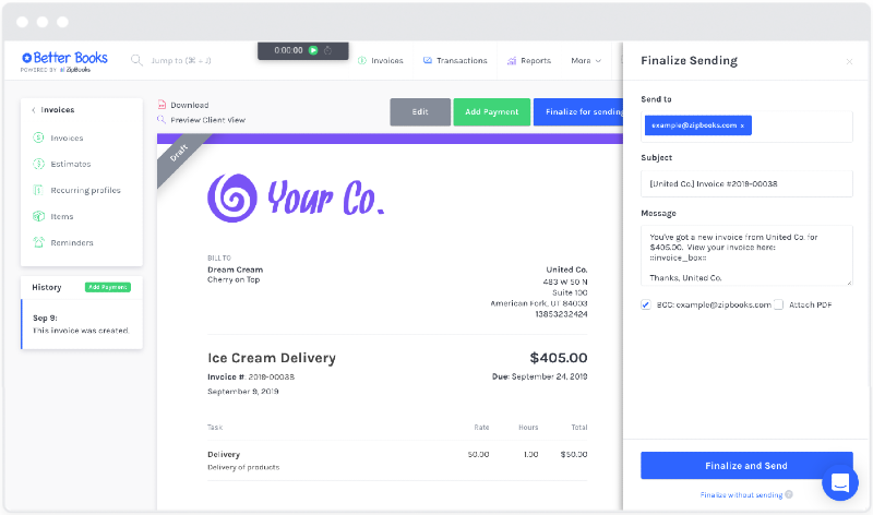 Creating an invoice in ZipBook