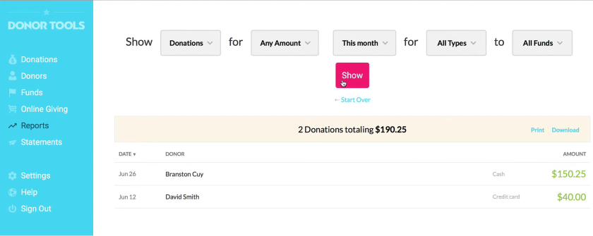 Donor Tools Donations Report dashboard