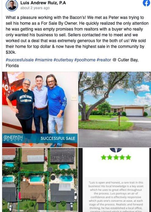 Facebook post for Client Success from Luis Andrew Ruiz