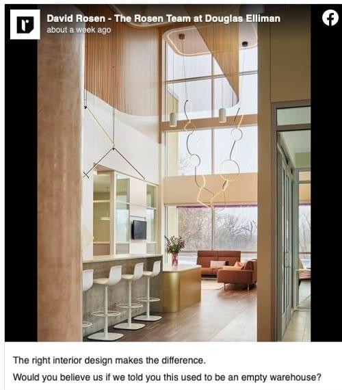 Facebook post for Decor Design Ideas from David Rosen Team