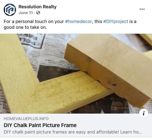 Facebook post for Decor Design Ideas from Resolution Realty