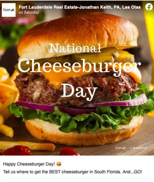 Facebook post from Jonathan Keith Celebrating National Cheeseburger Day