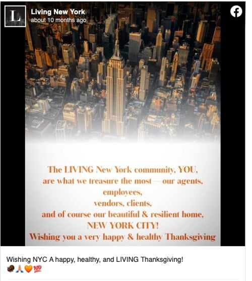 Facebook post from Living New York Celebrating Thanksgiving