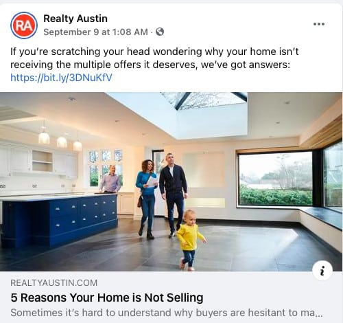 General Real Estate Tips Facebook post from Realty Austin