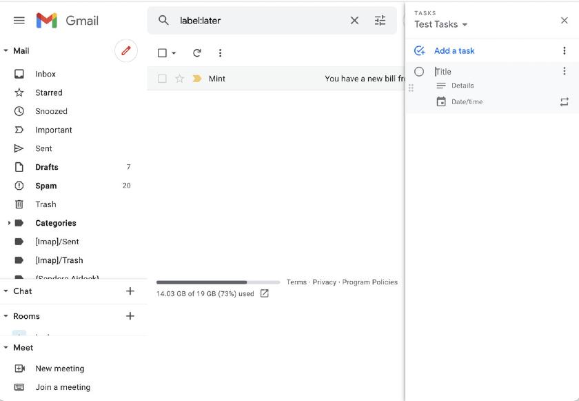 Google Tasks on Gmail Sidebar