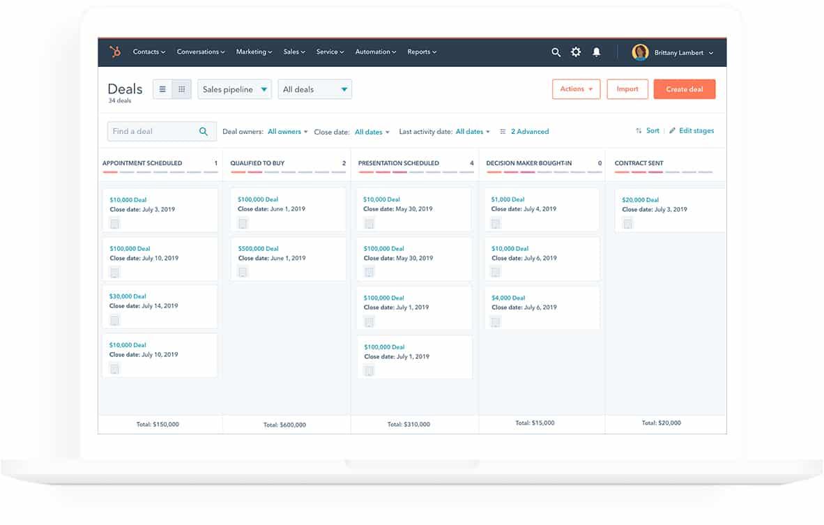 Screenshot of HubSpot CRM Deal stage pipeline