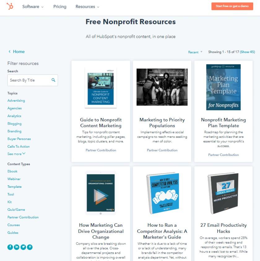 Hubspot CRM Free nonprofit resources