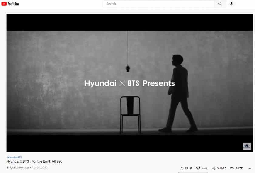 Hyundai x BTS in YouTube