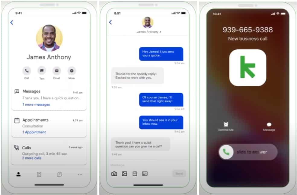 Screenshot of Keap mobile app
