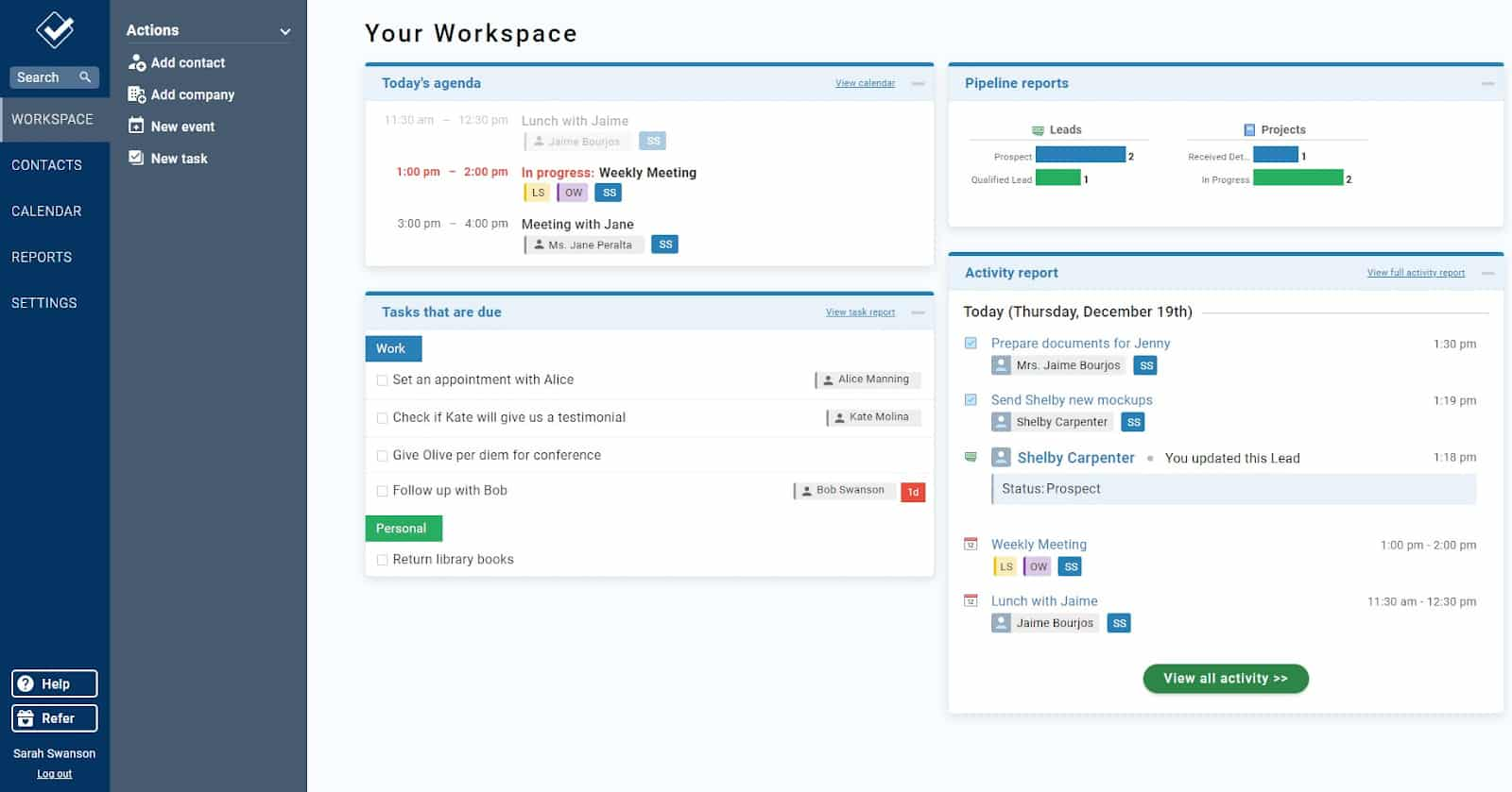 Screenshot of Less Annoying CRM The Workspace