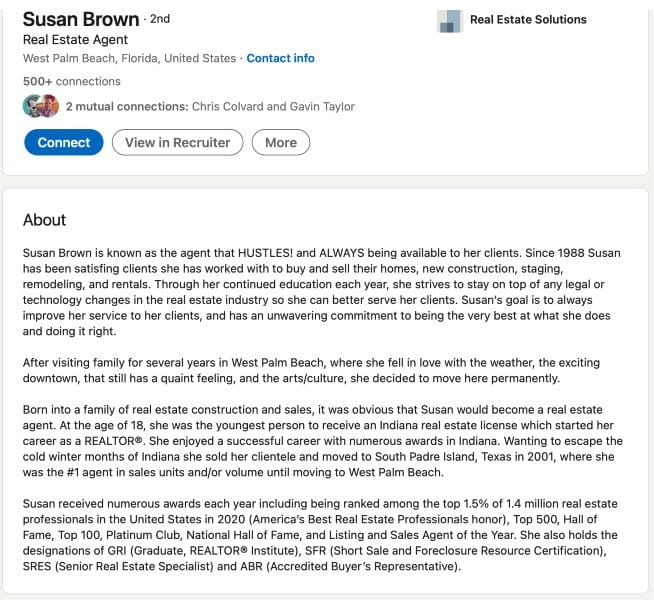 LinkedIn About Summary example from Susan Brown
