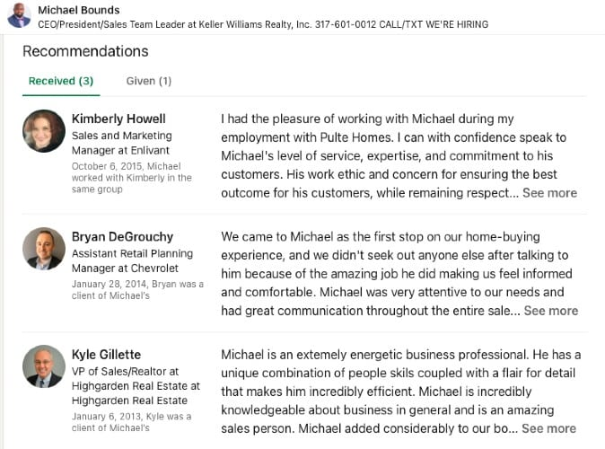 LinkedIn Recommendations example from Michael Bounds