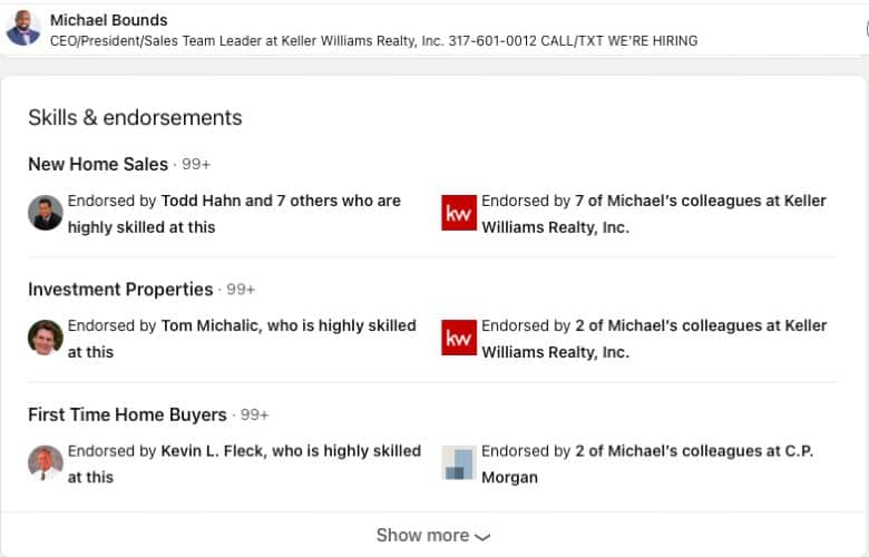 LinkedIn Skills and Endorsements example from Michael Bounds