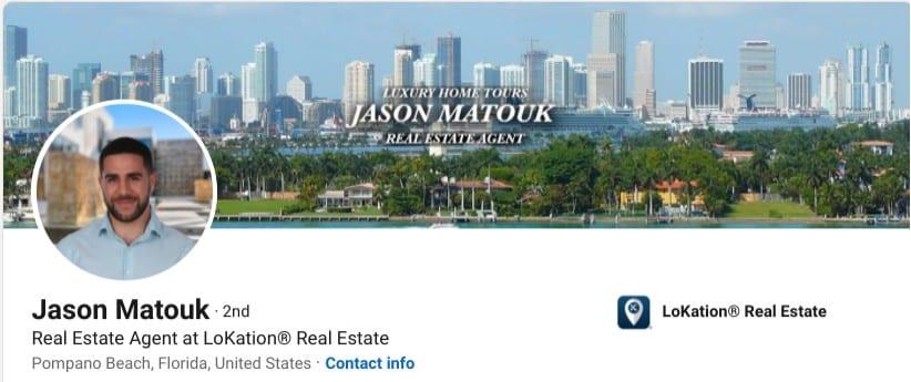 LinkedIn background photo example from Jason Matouk