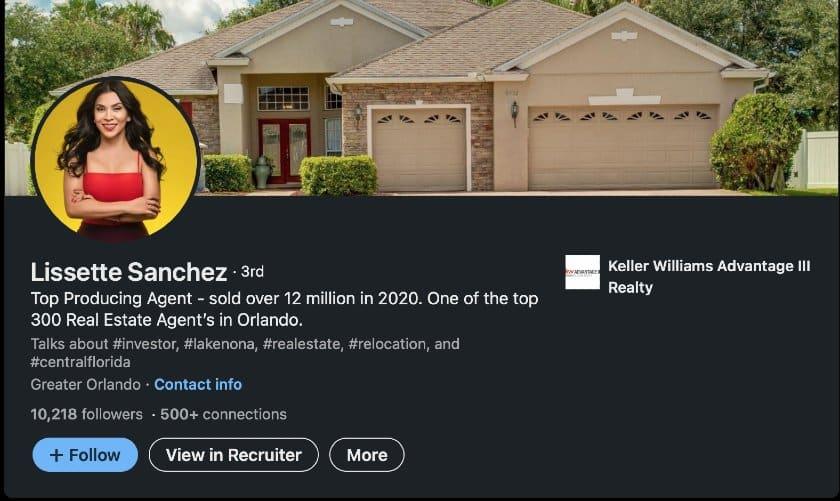 LinkedIn profile headlines example from Lissette Sanchez