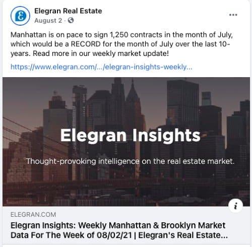 Market Update Facebook post from Elegran Real Estate