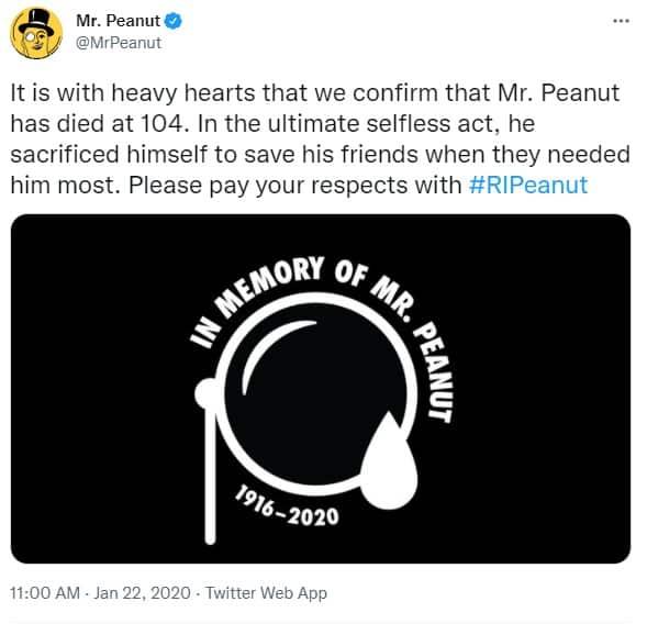 Mr Peanut Died Instagram Post