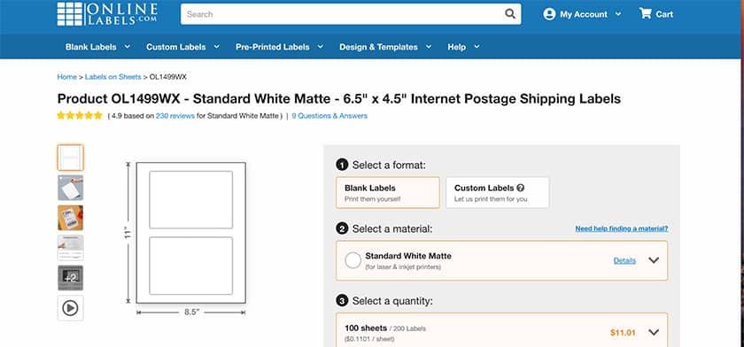 Screenshot of OnlineLabels.com label sheets sample