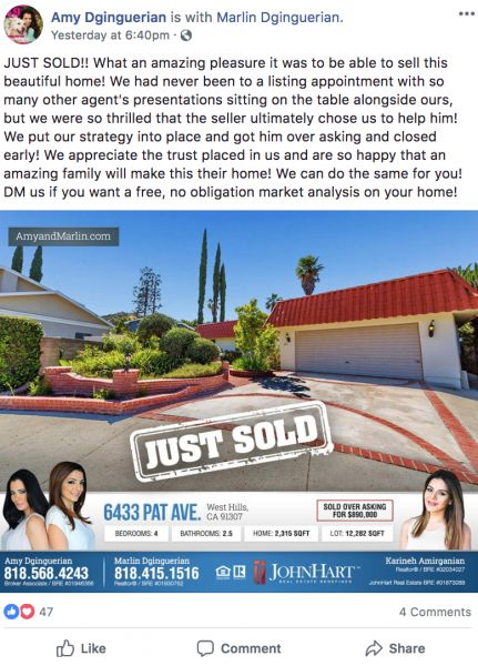 Real Estate Facebook post for Featured Listings from Luminary Agent