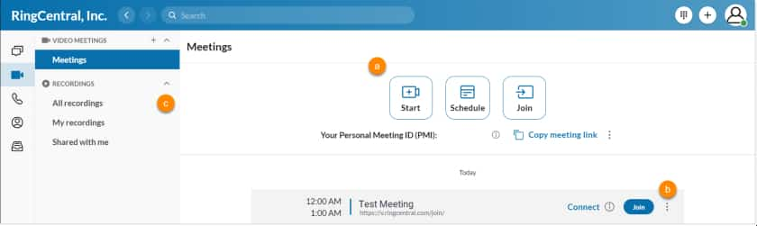 RingCentral Video Meetings Interface