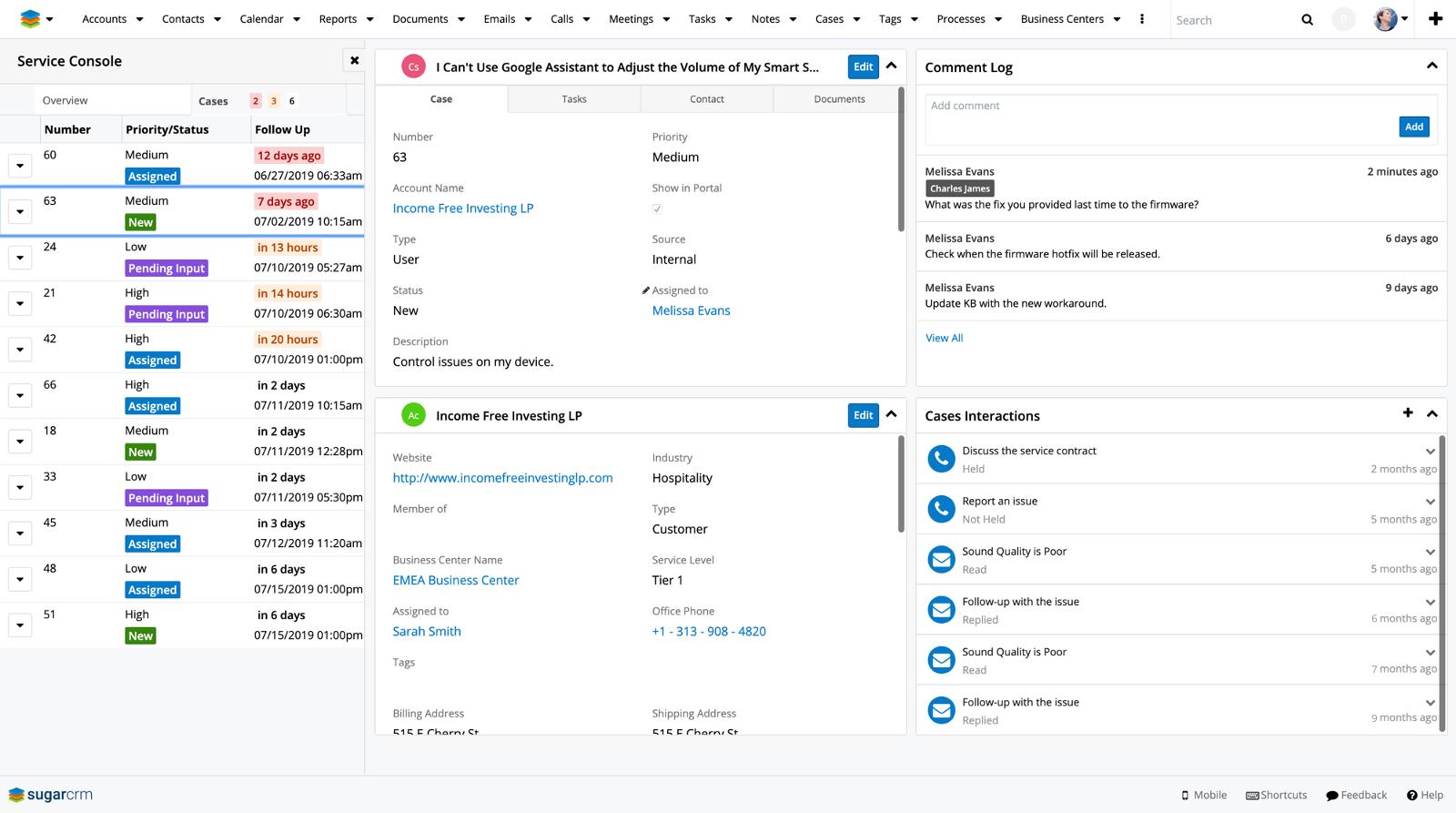 Screenshot of SugarCRM customer service tools