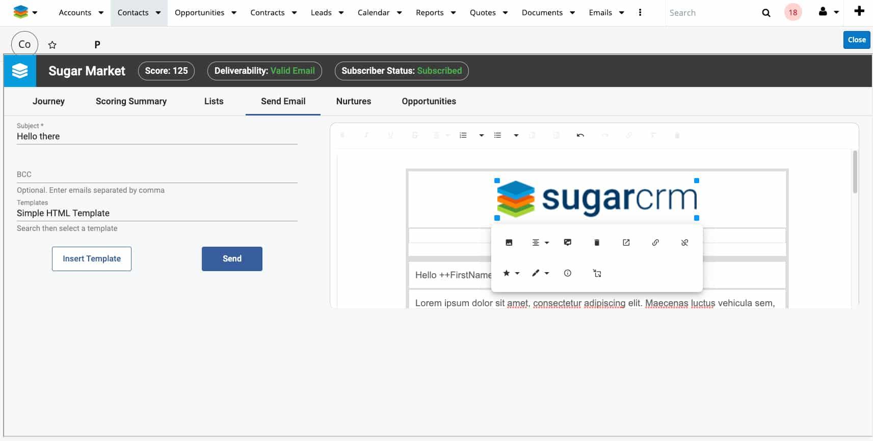 Screenshot of SugarCRM send email