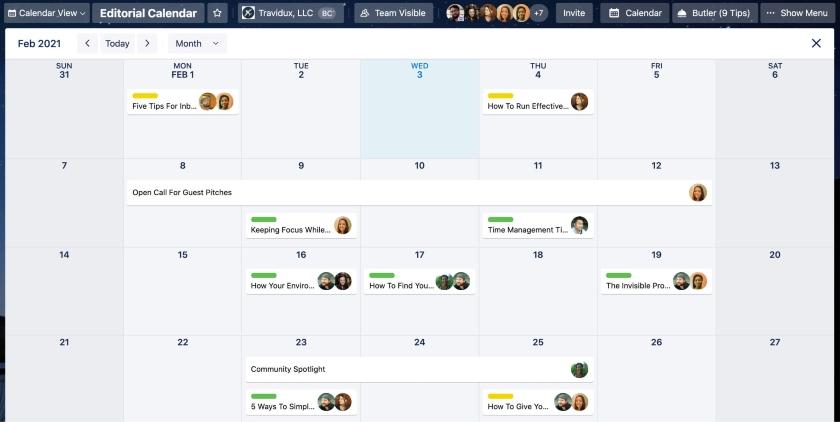 Trello Activity Tracking Calendar View