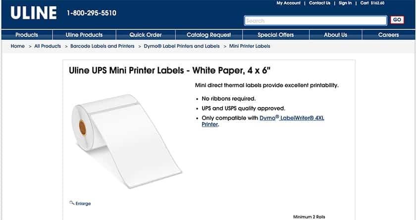 Screenshot of ULINE label sheets sample