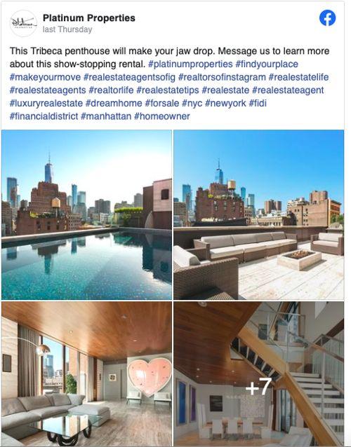 Unique Features & Architecture Facebook post from Platinum Properties