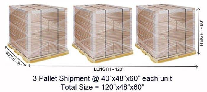 Screenshot of 3 Pallet Shipment Total Size