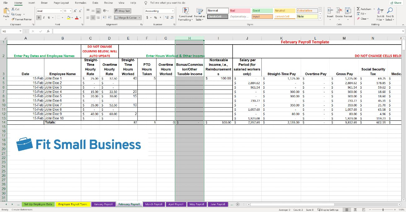 Screenshot of Bonuses and Other Taxable Income Should Be Entered in Column H