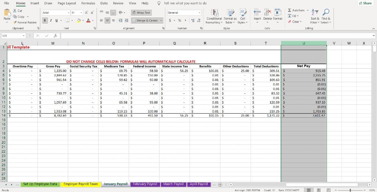 Screenshot of Column U Shows the Net Pay Amounts of Employees