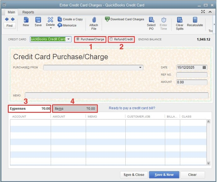 Credit Card Charge Screen in QuickBooks Desktop