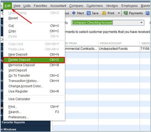 Delete a Deposit in QuickBooks Desktop