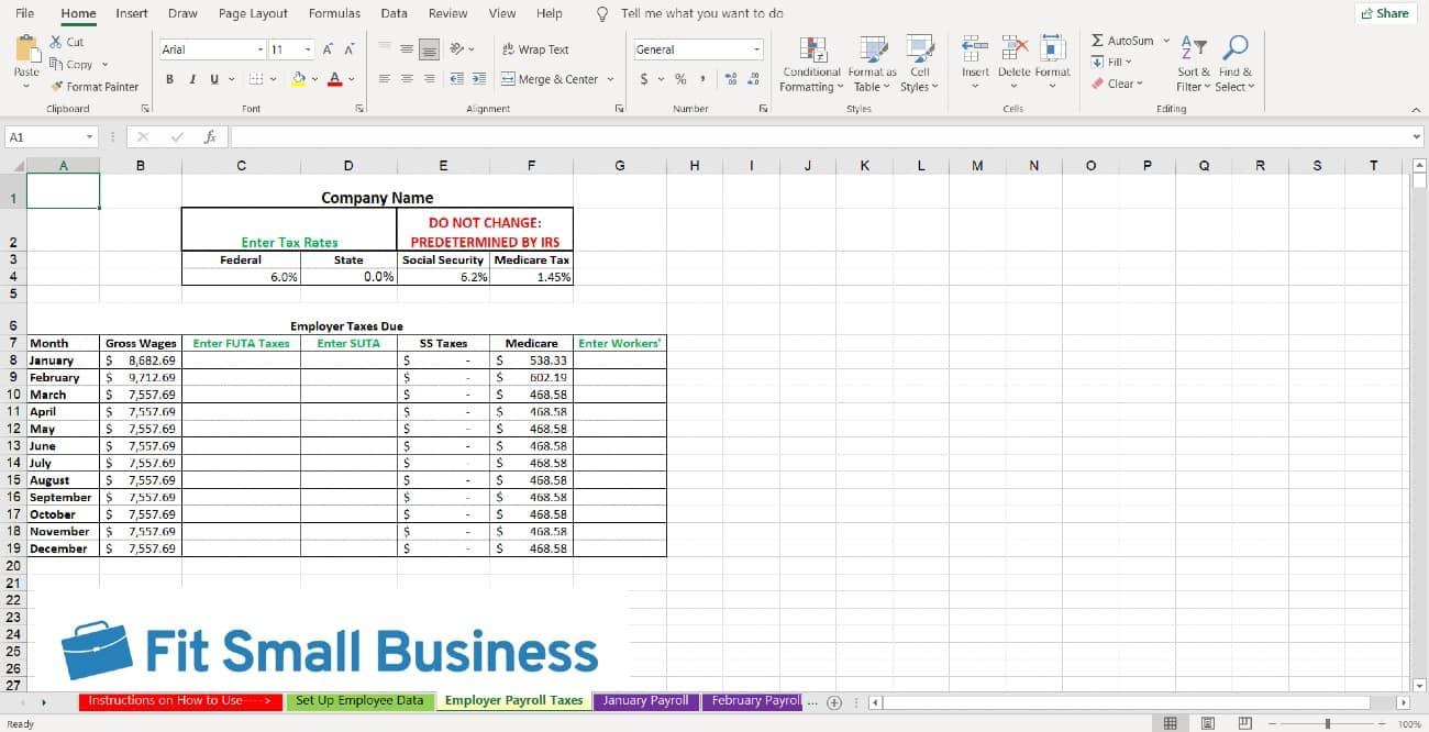 Screenshot of Employer Payroll Taxes Tab