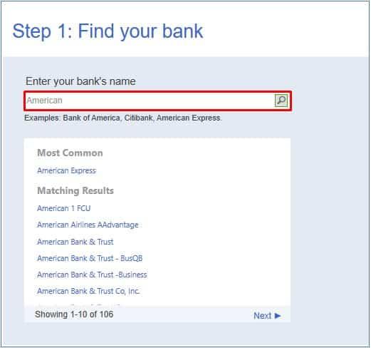 Enter your Bank's Name in QuickBooks Desktop