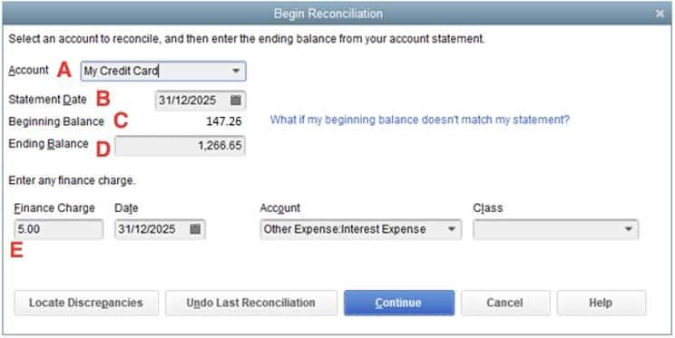 Credit Card Statement Information in QuickBooks Desktop