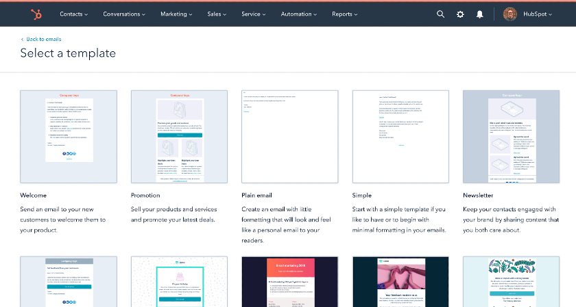HubSpot CRM email templates and email marketing tools