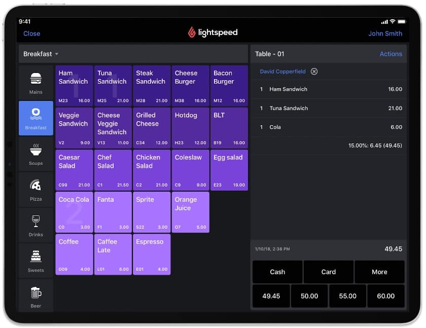 Screenshot of Lightspeed Quick Service Mode