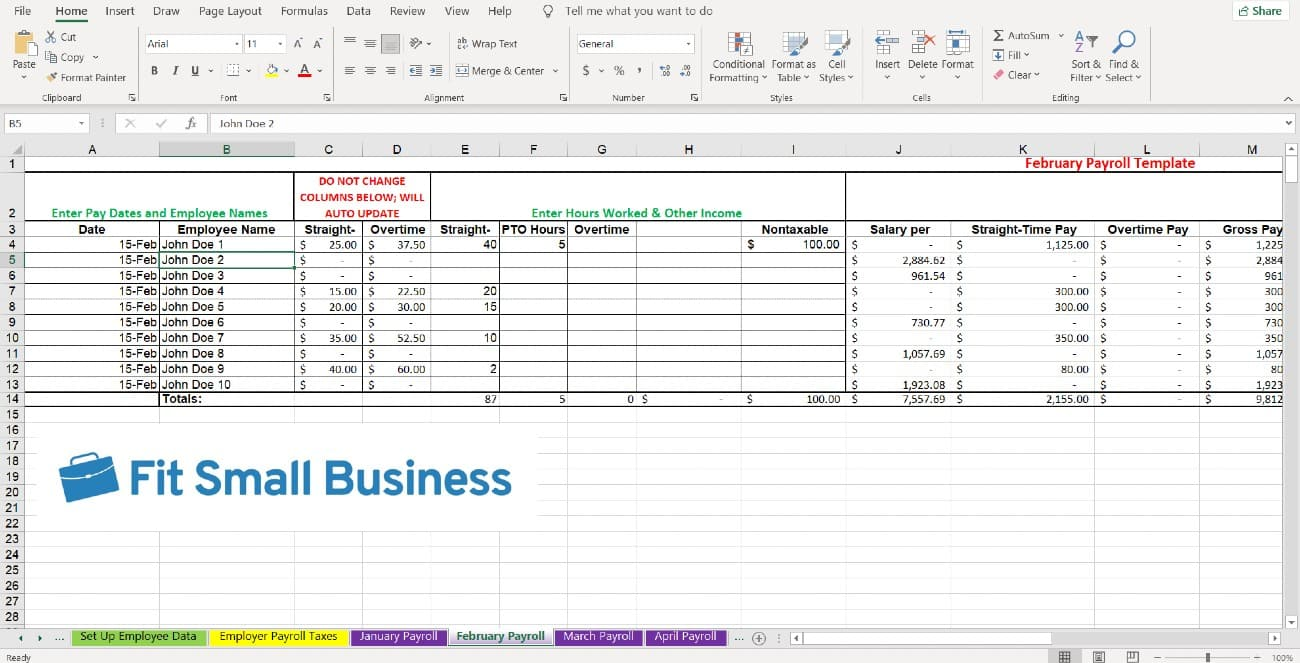 Screenshot of Monthly Payroll Tabs Specific Columns