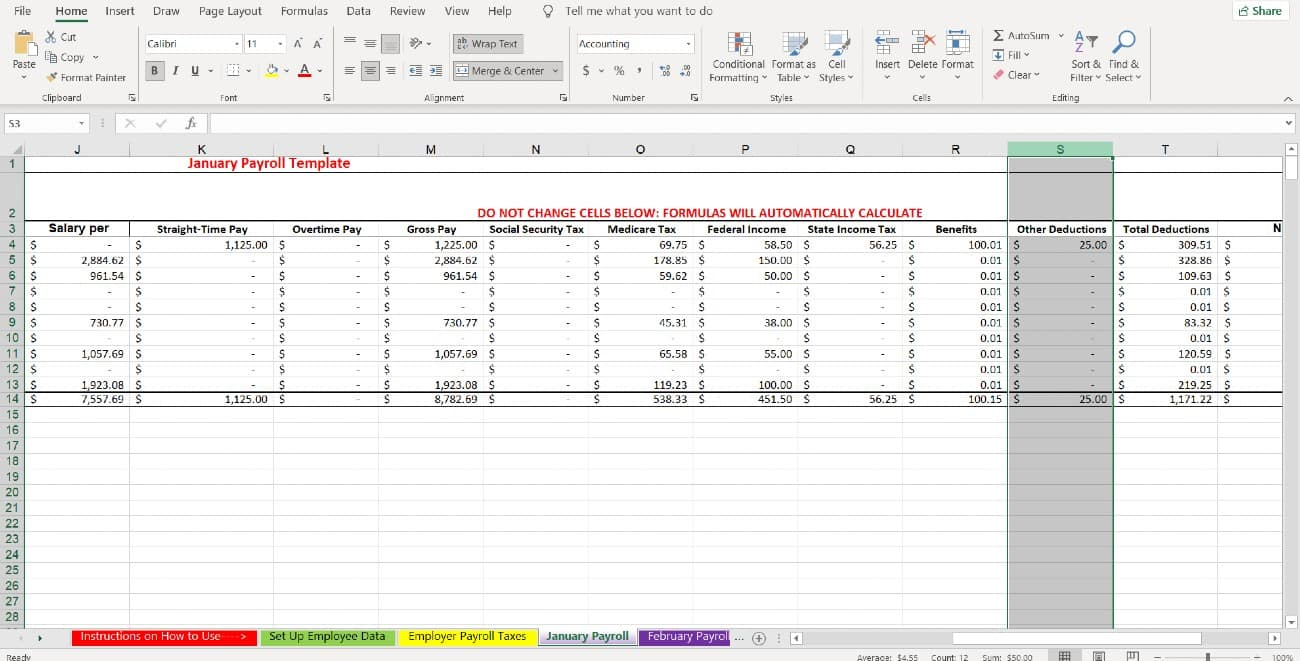 Screenshot of Monthly Payroll Tabs Sum in One Column