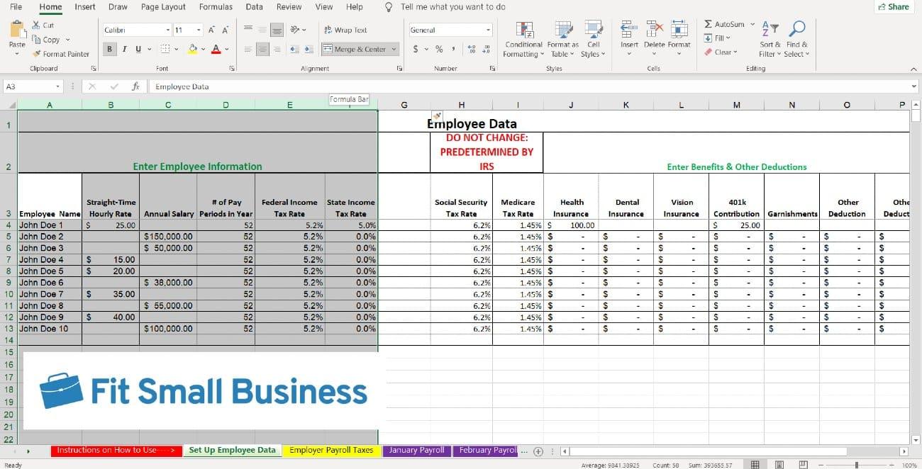 Screenshot of No Formulas Columns A Through F